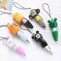 1Pc Mini Lovely Wooden Cartoon Animal Ball Point Pen Keychain Phone Pendant