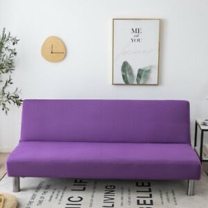 Solid Armless Sofa Bed Cover Stretch Folding Futon Slipcover Furniture Protector