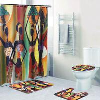 4pcs Africa Girl Polyester Shower Curtain+Bathroom Mat Bath Pad Cover Set Decor