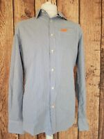 Mens Superdry Shirt Blue White Stripe Medium 40 Chest