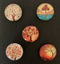 Handmade Orange/Brown Tree Design Glass Fridge/Memo Board Magnets (set of 5)
