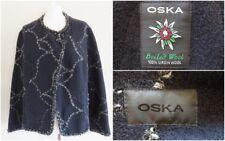 OSKA Black Boiled Wool Lagenlook Artisan Soft Layering Jacket Size II UK Size 12