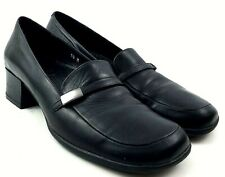 Nickels Soft Black Leather Block Heel Slip On Casual Loafer Shoes Women's 10 M