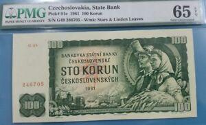 1961 CZECHOSLOVAKIA 100 Korun PMG65 GEM UNC [P-91c]