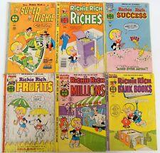 Lot of 6 Vintage 1970's Richie Rich Comics Harvey World Superichie Super Richie