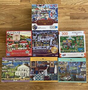 Lot of 7 Hometown Collection Heronim 1000 300 pc Puzzles Home Town