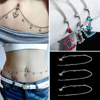 Charming Waist Chain Rhinestone Navel Ring Belly Button Bar Dangle Body Piercing