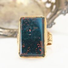Antique genuine Bloodstone Signet Ring size 8 10 K yellow (plum) gold handmade