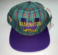 NEW Vintage 90s Washington Huskies Plaid Snapback Hat Cap NCAA