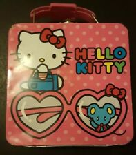Used Hello Kitty metal lunch box small candy sweets glasses mouse Sanrio