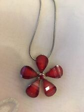 "Very Pretty Flower Pendant Necklace Red Diamanté Flower On 18"" Adjustable Chain"