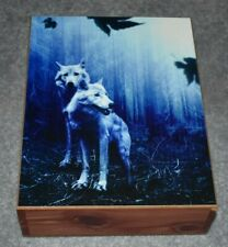 "#4693 WOLVES IN TWILIGHT KEEPSAKE JEWELRY WOOD CEDAR BOX 7"" X 9.5"""