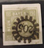 """Bayern Kreuzer-Briefstück 9 KNr. 5c III, klarer Abschlag gMR """"205"""" Memmingen"""