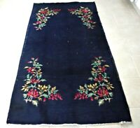 Vintage Oriental Dark Blue Carpet 4x7ft Turkish Hand Knotted Wool Floral Old Rug