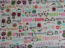 CRIB/TODDLER SHEET/FITTED/FLANNEL - HUGGABLE WORDS BEAR - CUTE HUGS ADORABLE