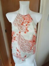 Butterfly Matthew Williamson Womens Pink Floral Halter Neck Top Size 12 Holiday