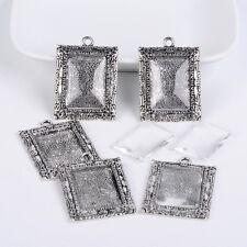 5 Sets Tibetan Style Pendant Rectangle Antique Silver Cabochon Bezel Settings