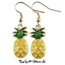 TFB - TROPICAL PINEAPPLE ROSE GOLD DANGLE EARRINGS QUIRKY NOVELTY GIRLS GIFT FUN