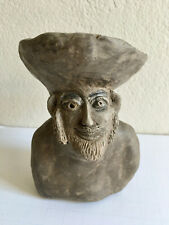 VTG Small Studio Pottery Clay Male Man Bust  Sculpture Outsider Art Primitive