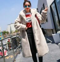 Womens Hooded Long Faux Fur Coat Velvet Loose Zipper Slim Winter Coat Outwear