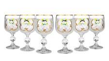 Bohemian Crystal Enameled Colored Wine Glasses, Vintage White Goblets Set of 6