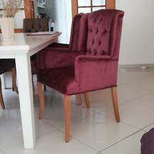 Eleganter Ohren/Armlehnen Esszimmer-Stuhl Textil Samt mit Chesterfield Steppung
