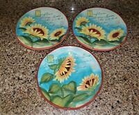 "(3) Susan Winget Certified International Meadows Sunflower 11"" Dinner Plates"