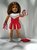 """5 pc Red Cheerleading Outfit fits American Girl 18"""" doll clothes Cheerleader"""