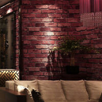 Red Charcoal Slate Tile Brick Wall Textured 3D Effect Realistic Brick Wallpapers