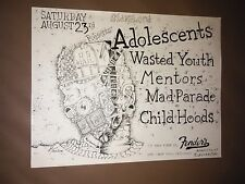 ADOLESCENTS,WASTED YOUTH,MENTORS original 80s FENDERS Flyer Punk,Thrash,