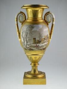 Large 19th Century Porcelain Empire French Paris Vase Circa 1820