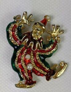 Vintage Gold Tone Enamel Faux Pearl Clown Brooch