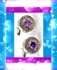 Rhinestone Around The Smaller Clear 💥💥Beautiful Cufflinks A Lg Purple Faceted