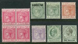 Gibraltar QV - GV Mint Lot. Cat approx £230