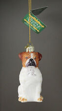 Ksa Noble Gems Olde English Bulldog Dog Glass Christmas Ornament New