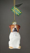 Ksa Noble Gems Olde English Bulldog Dog Glass Christmas Ornament New