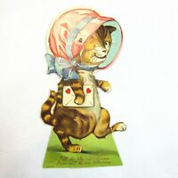 Vintage Valentine Card Cat Mechanical Moving Eyes Stand Up Germany 1920-30s
