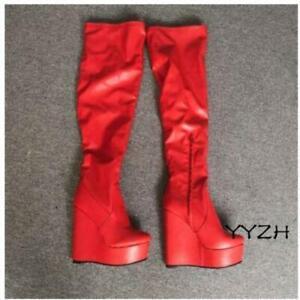 Women's Casual Wedge High Heel Over the Knee High Boots Platform Side Zip Shoes