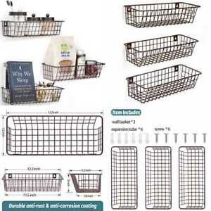3 Set Hanging Wall Basket For Storage Mount Sturdy Steel Wire Baskets Metal Hang