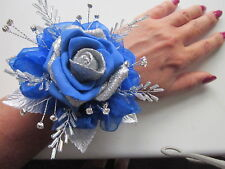 Silver & Sapphire Blue Wrist Corsage Prom Wedding Flowers Rose Bride Maid