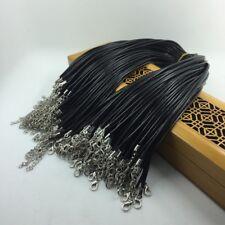 Wholesale 2 pcs Black Leather Cord Necklace Chain 43cmx2mm
