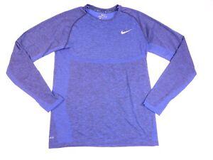 Nike Dri Fit Long Sleeve Crew Neck Thumb Hole Striped T Shirt Mens Blue Size M