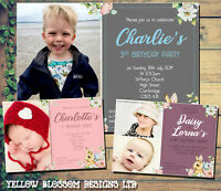 10 Personalised Invitations Birthday Party Photo Thank You Boy Girl Joint Twins
