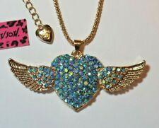 NEW! Betsey Johnson Crystal Rhinestone Heart Angel Wings Necklace Pendant