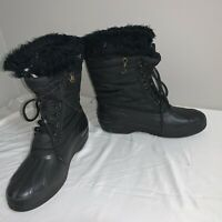 Vintage Sorel Womens Canada Kaufman Black Winter Boots Sz 6 Lace Up With Liners