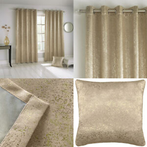 Natural Gold Shimmer Sparkle Halo Thermal Blockout Eyelet Ring Top Curtains Pair