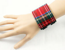 Fashion Punk Rock Gothic Stylish Leather wristband w/Scotland Check Bracelet New