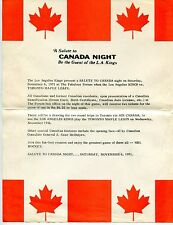 "1971 ""L.A. KINGS"" Hockey Flyer: ""SALUTE TO CANADA NIGHT"""