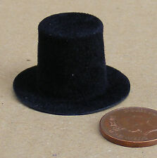 1:12 Scale Mans Black Stove Top Hat Dolls House Miniature Clothing Accessory