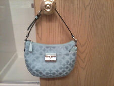 Coach Kristin Signature Op Art Sateen Top Handle Pouch Silver/Teal 43731 NWOT